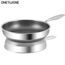 Frying Pan Stainless Steel Non-stick Pan ,Cookware Use For Induction And Gas,Kitchen 304 Stainless Steel Wok
