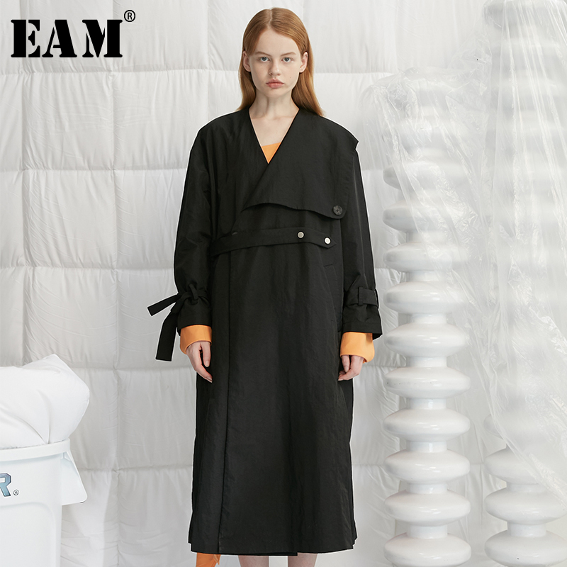 [EAM] Women Black Split  Big Size Long Trench New V-collar  Long Sleeve Loose Fit Windbreaker Fashion Autumn Winter 2019 1H657