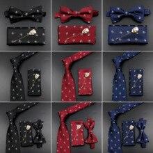 Handkerchief Wedding-Accessory Fashion New-Design Suit Brooch Skull-Tie-Set Collar Bowtie