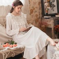 Spring Autumn Court Home Dress Long Sleeve Nightgown Lace Sleepwear Retro Princess Ruffled Long Nightdress