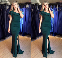 One Shoulder Mermaid Evening Dresses With Ruffles 2019 Side Split Sweep Train Vestido Modest Long Prom Party Cheap