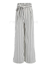 Spring and summer new style European American striped wide-leg pants Slim casual
