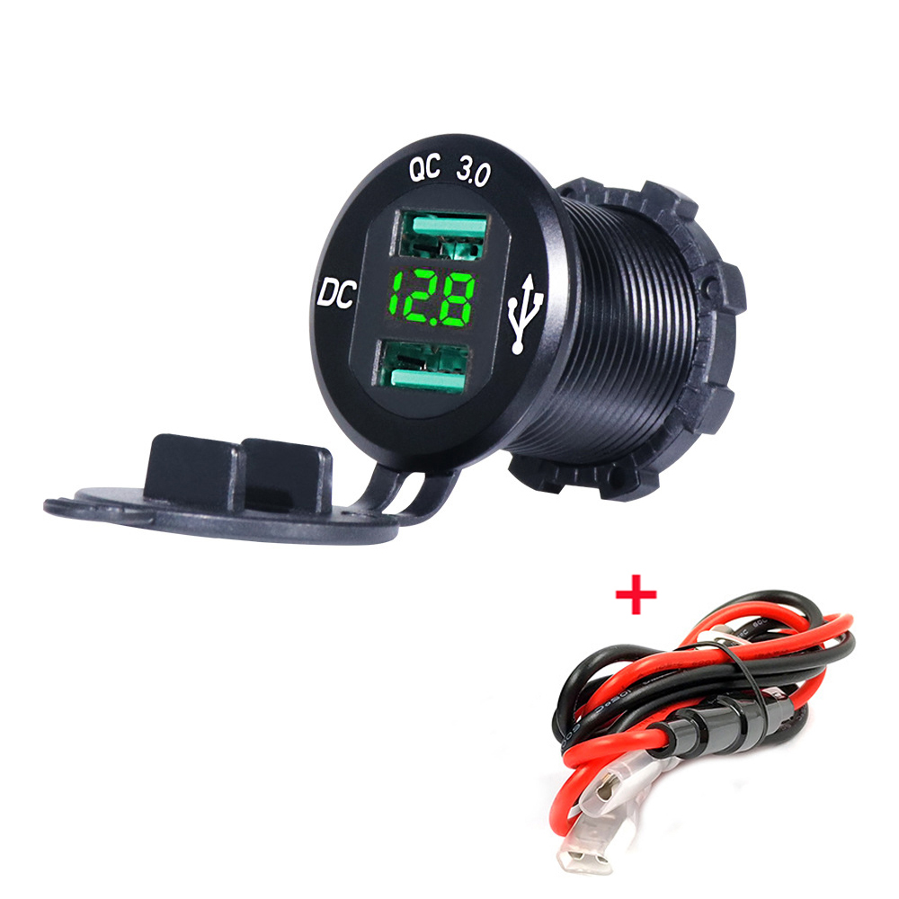 12V/24V Quick Charger 3.0 QC3.0 Waterproof Dual <font><b>USB</b></font> Car Charger Voltmeter 60cm cable 10A FUSE for Car Boat Motorcycle Truck <font><b>Golf</b></font> image