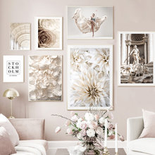 White Flower Girl Church Trevi Fountain Wall Art Canvas Painting Nordic Posters And Prints Wall Pictures For Living Room Decor