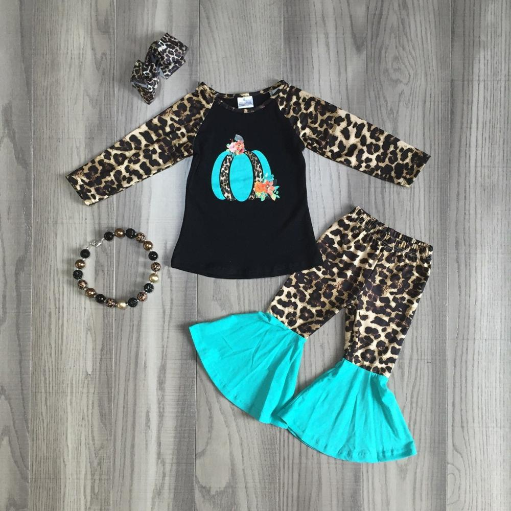 children Girls Halloween clothing girls leopard print outfts with bell bottom pants girls pumpkin clothes with accessories-in Clothing Sets from Mother & Kids