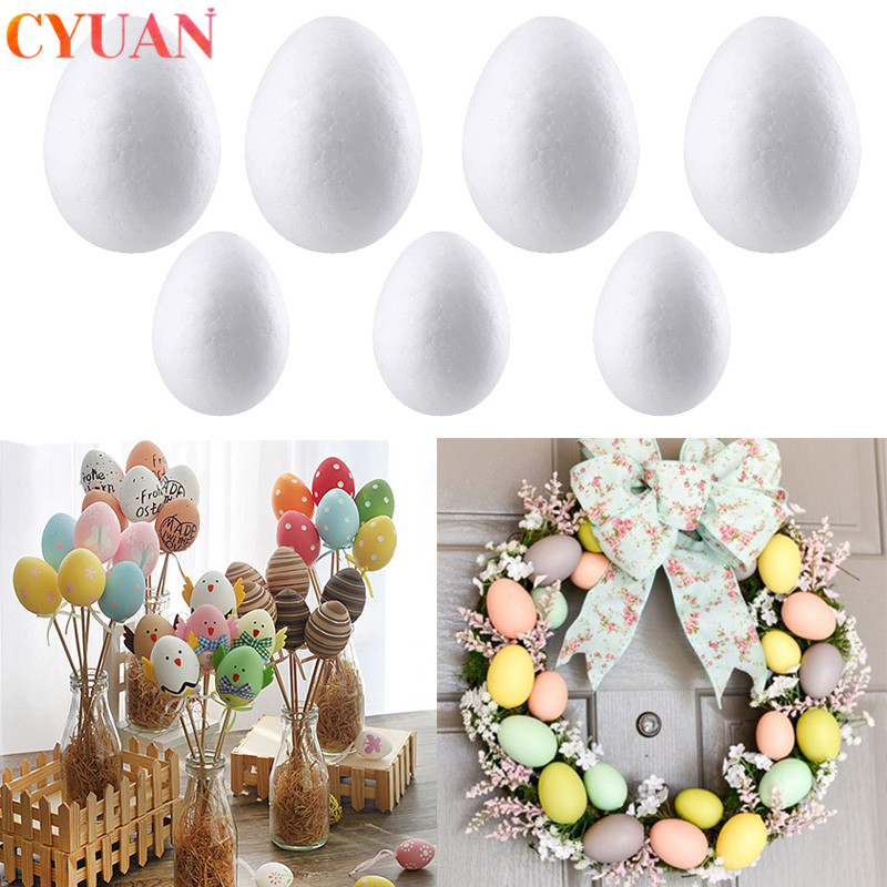 50pcs Easter Decoration Foam Eggs DIY Modelling Polystyrene Styrofoam Eggs Ball Easter Party Decorations For Home Kids Gifts Toy