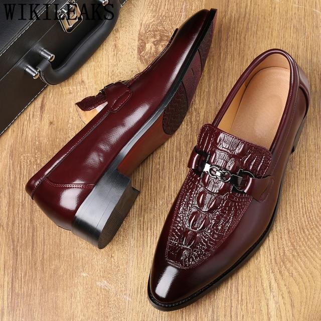 Crocodile Shoes Black Business Shoes Men Oxford Leather Suit Shoes Men Italian Formal Dress Sapato Social Masculino Mariage 2020