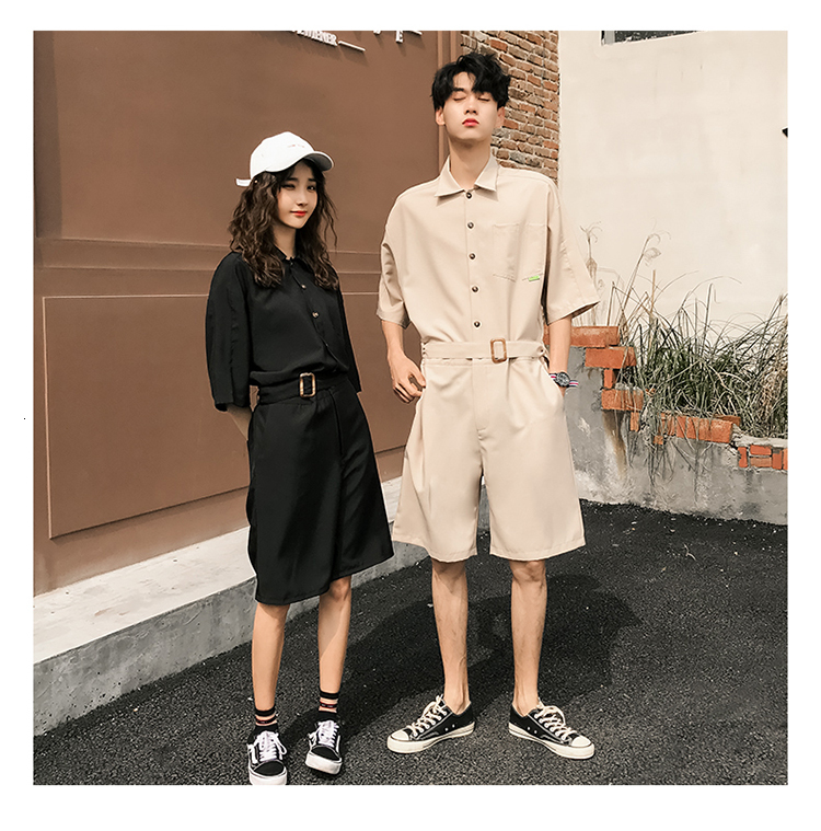 LAPPSTER Jumpsuit Men Harajuku Belt 2020 Summer Couple Women Jumpsuit Plus Size Black Cargo Overalls Pants Korean Style Fashion 71