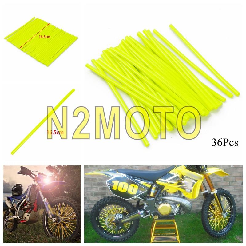 36 pièces/ensemble moto saleté vélo roue à rayons enveloppes peaux couvre universel pour BMW Kawasaki Yamaha Honda Suzuki moto