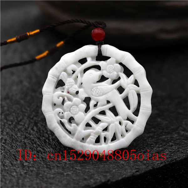 Natural White Chinese Jade Bird Flower Pendant Necklace Fashion Charm Jewelry Double-sided Hollow Carved Amulet Gifts For Women