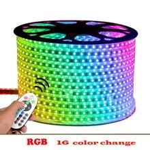 LED Strip Light 220V RGB 5050 SMD IP65 Waterproof Tape+IR Remote Controller 15M 20M 25M 30M 40M 45M 50M EU plug