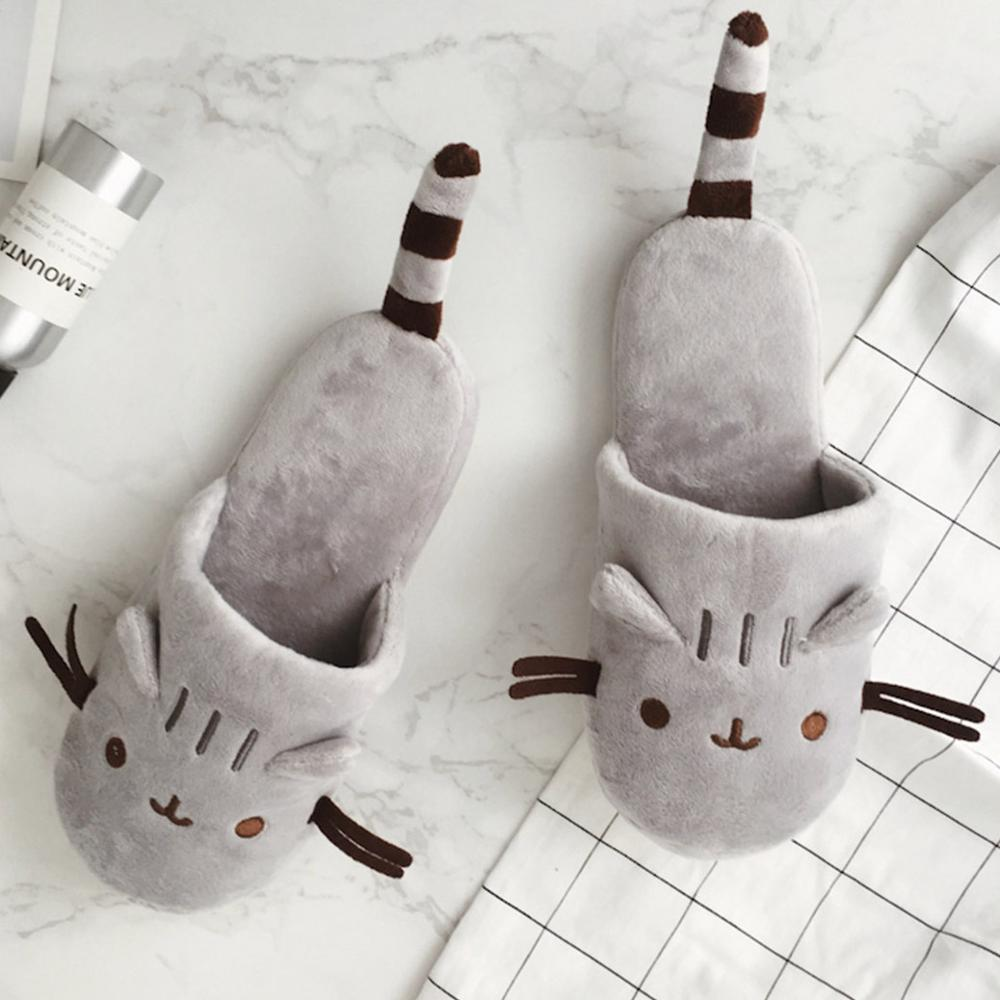 Cozy Home Slippers Spring Autumn Indoor Warm Cute Cat Cartoon Plush Travel Airplane House Shoe Woman