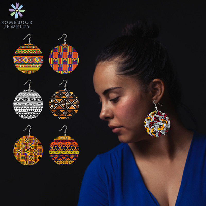 Винтажные Дизайнерские деревянные висячие серьги SOMESOOR в Африканском этническом стиле с принтом в стиле афроткани, в богемном стиле, Висячи...