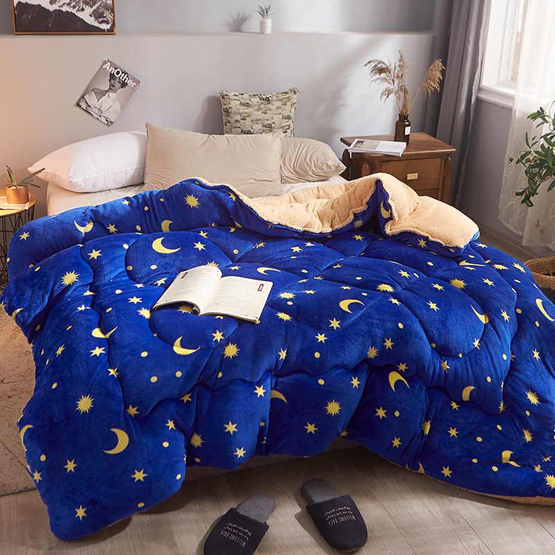 Couette épaisse chaude simple/double | patchwork, parure de lit matelassée, en cachemire d'agneau, imprimé géométrique, étoile de luxe, hiver