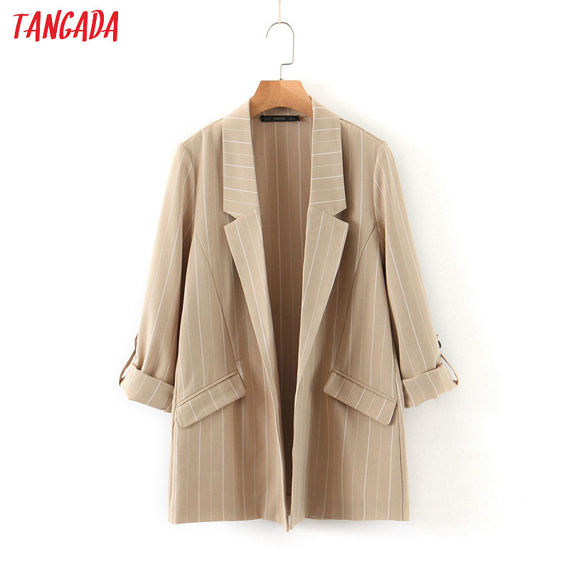 Tangada Women Vintage Loose Striped Blazer Female Long Sleeve Elegant Jacket Ladies Work Wear Blazer Suits HY47