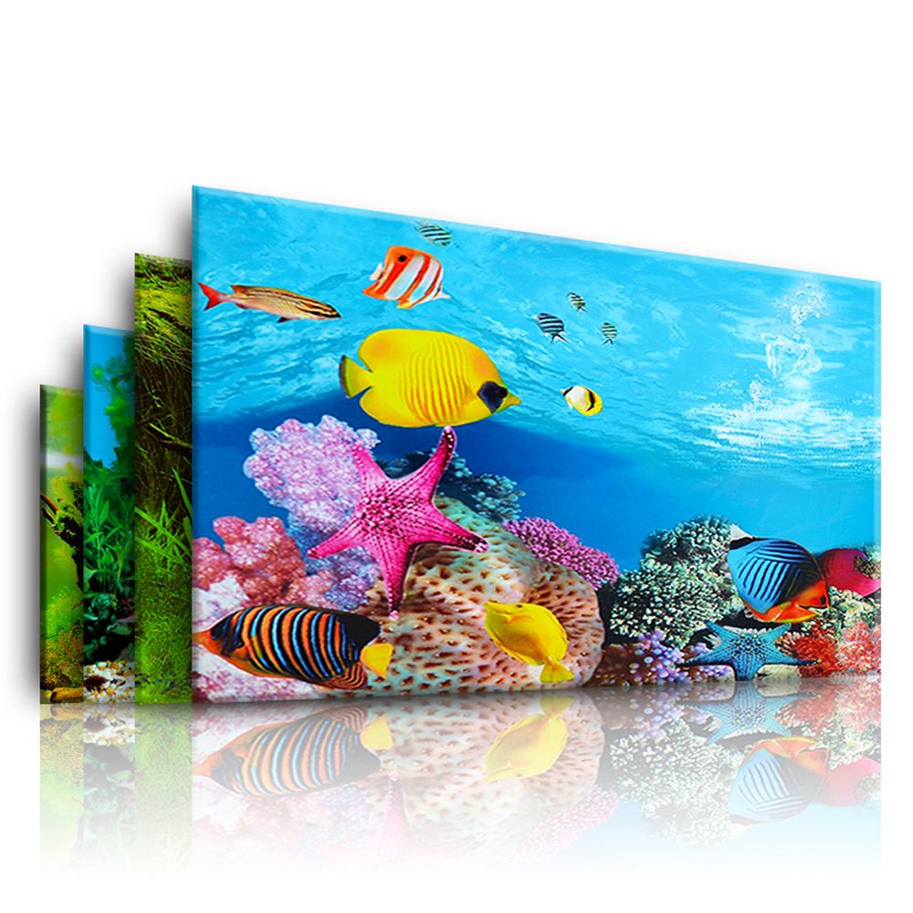 Aquarium Landscape Sticker Poster Fish Tank 3D Background Painting Sticker Double-sided Ocean Sea Plants Backdrop Aquarium Decor(China)