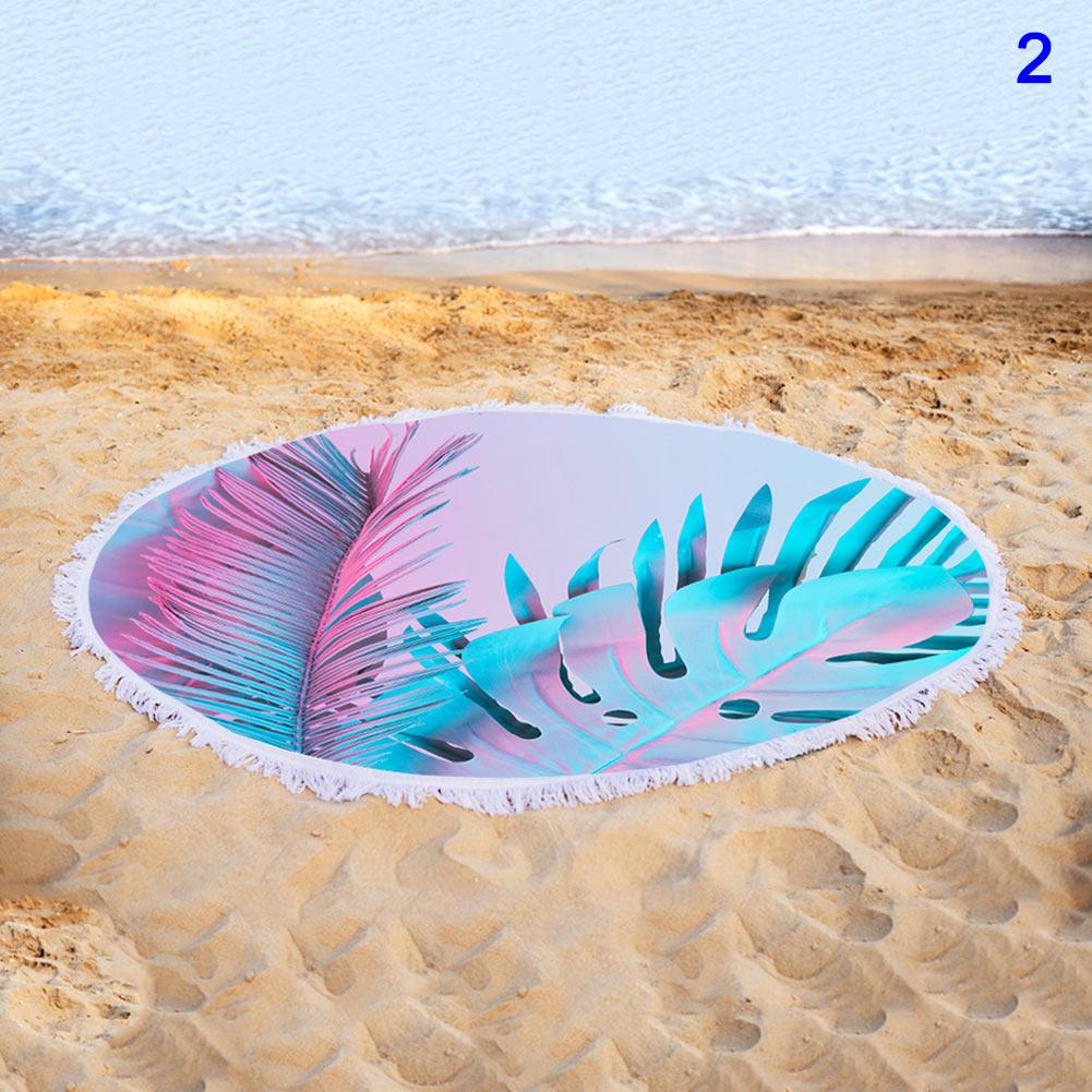 Toalha de Praia com Borla Quick-seco Rodada Colorido Floral Impressão Ya88