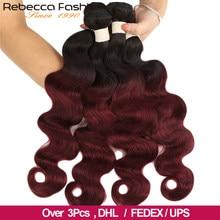 Rebecca ombré-mechones de pelo malayo ondulado, extensiones de cabello humano Remy 100%, mechones 2 Tono de Color, T1B/27 # T1B/30 # T1B/99J, 3/4 Uds.