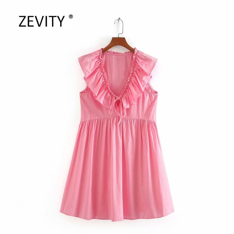 2020 Women Elegant V Neck Agaric Lace Ruffles Solid Poplin Mini Dress Female Bow Tied Casual Vestido Chic Pleats Dresses DS3930