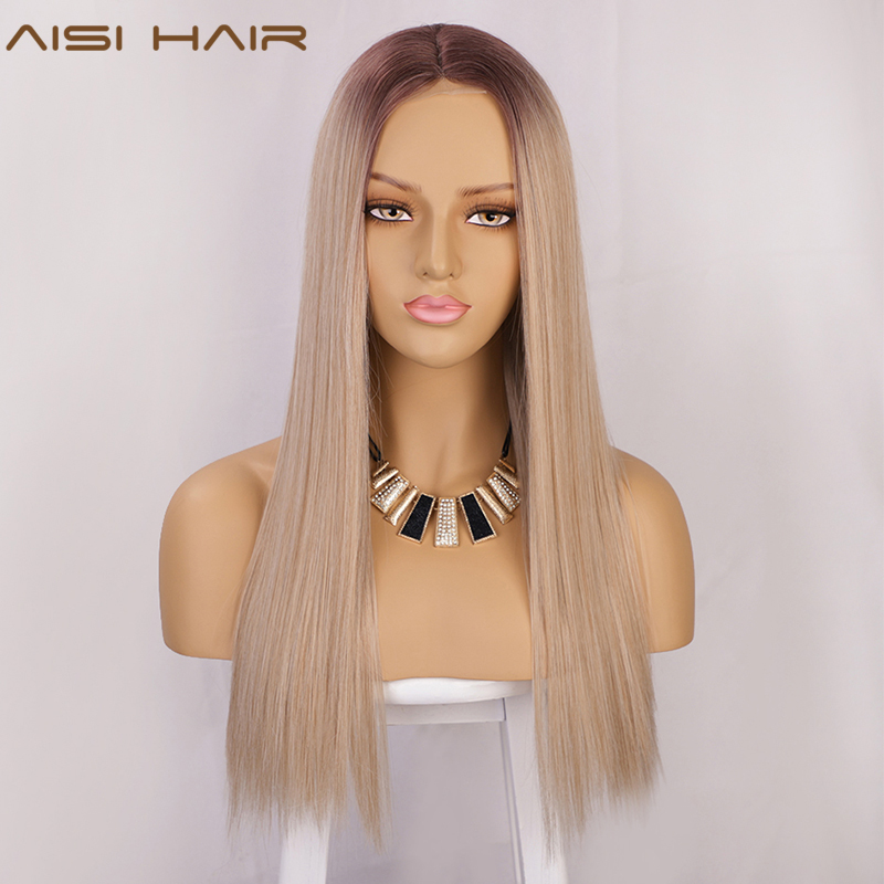 AISI HAIR Long Straight Synthetic Wig Light Blonde Ombre Wigs For Women Mixed Brown And Blonde Wig Middle Part Nature Hair Line