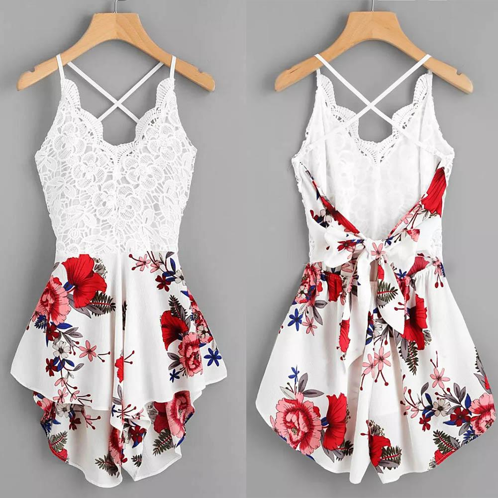 Summer Women Flower Print Lace Backless Bandage One-piece Sleeveless Jumpsuit