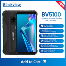 Blackview versão global bv5100 celular 4gb + 64gb 16mp câmera ip68 impermeável 5580mah android 10 nfc 16mp smartphone áspero