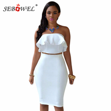 SEBOWEL Summer Sexy White Two Piece Set Women Crop Top and Skirt 2019 Ruffle Strapless Suit Female Sexy Club Party Pencil Skirt sexy halter solid color crop top and slit skirt women s suit