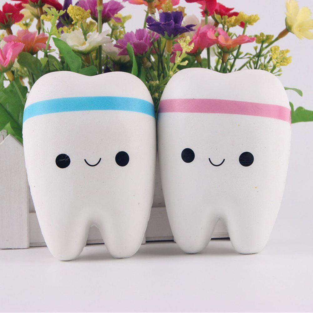 1Pcs Cute Cartoon Tooth Pendant With Ball Chain Kids Adult Toy Slow Rising Hand Spinner Teeth Soft Squeeze Stretchy Toy Gift