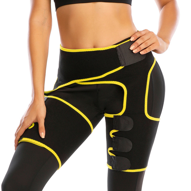 Women Low Waist Thigh Trimmer Neoprene Sweat Shapewear Slimming Leg 3 in 1 Waist Shapers Waist Trainer Workout Girdle Belt