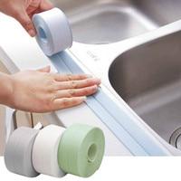 2 قطعة/المجموعة الحمام ملصقات دش بالوعة حمام ختم شريط إضاءة طويل الأبيض PVC الذاتي لاصق ملصق جداري مقاوم للماء الحمام المطبخ