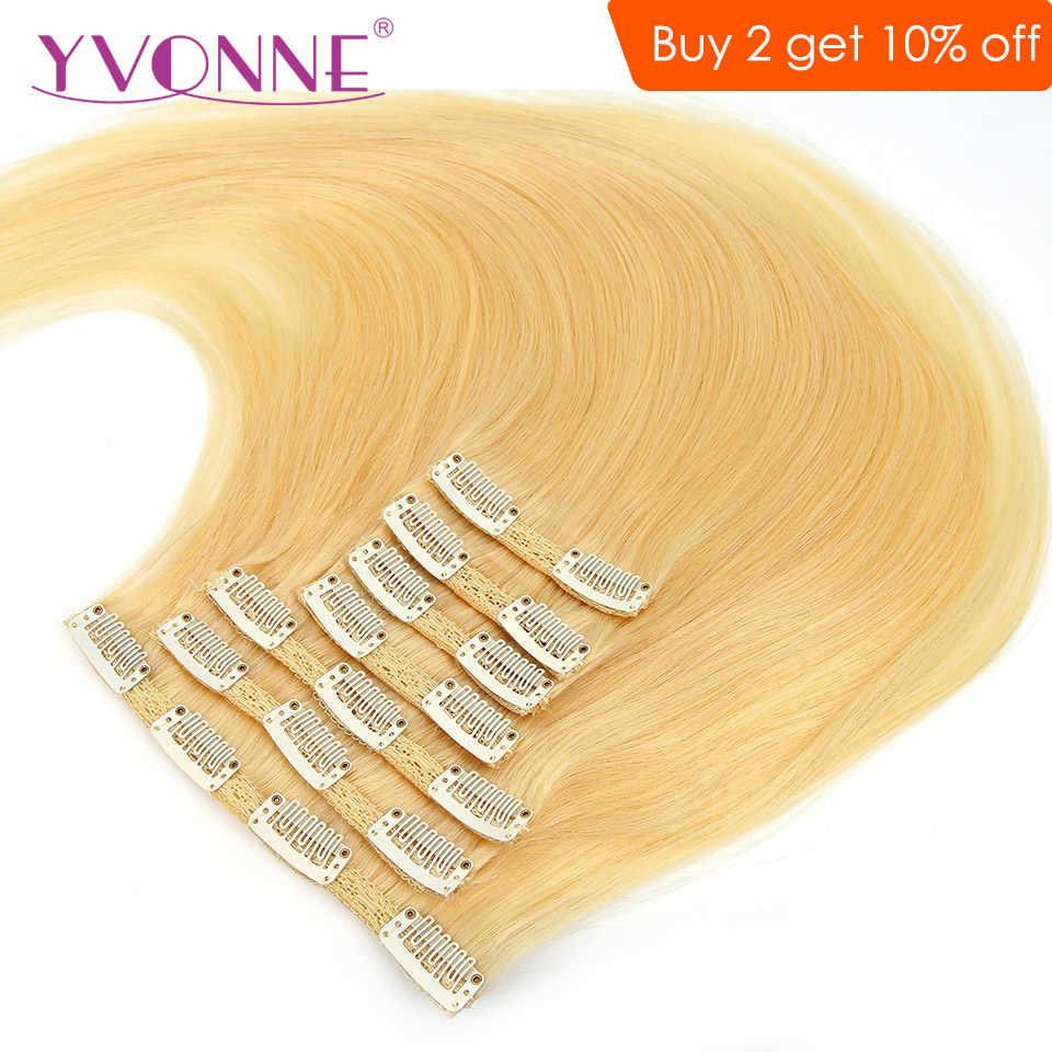 Pinza recta Yonne en extensiones de cabello humano pelo virgen brasileño Rubio 613 Color 7 piezas 120 g/set