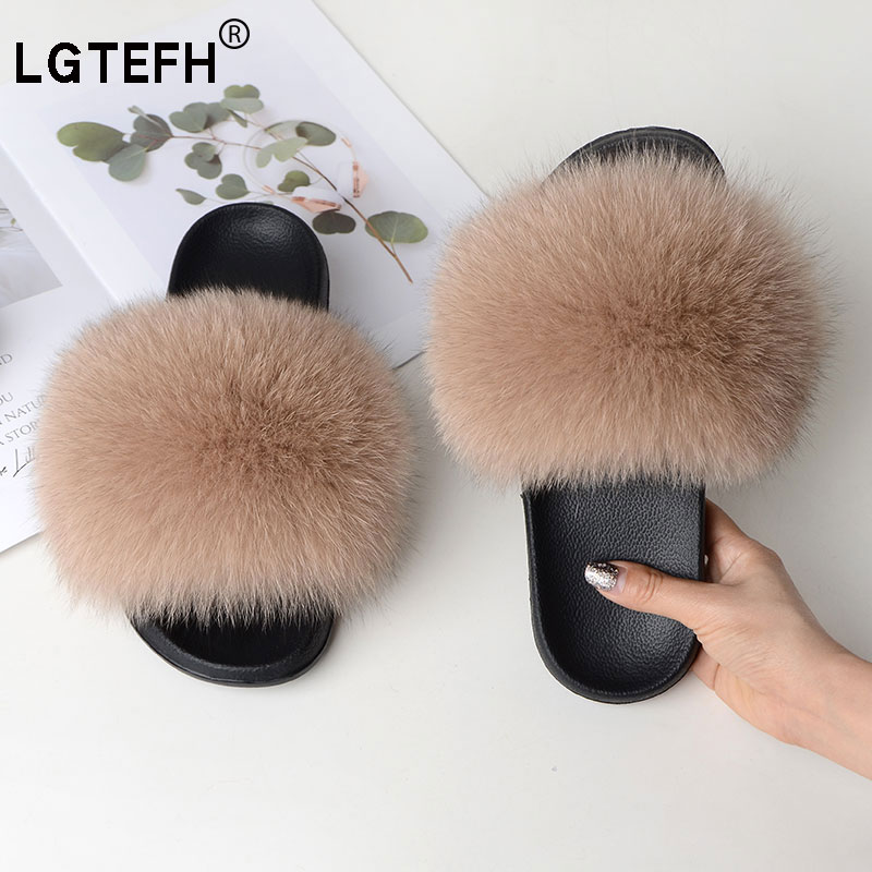 LGTEFH Fox Fur Slippers New Ladies Real Fox Fur Sandals Cute Casual Furry Flat Sandals EVA Indoor Non-slip Leather Shoes