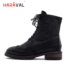 HARAVAL British Style Woman Ankle Boots Fashion Luxury Genuine Leather Round Toe Thick Heel Shoes Solid Martin Casual B219