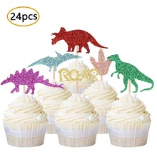 Dinosaur Cupcake Toppers | 24 Pack Cute Dinosaur Cupcake Picks for Dinosaur Theme Kids Birthday Party Baby Shower Decorations 30pcs golden glitter unicorn horn theme cupcake toppers kid s party baby shower decors