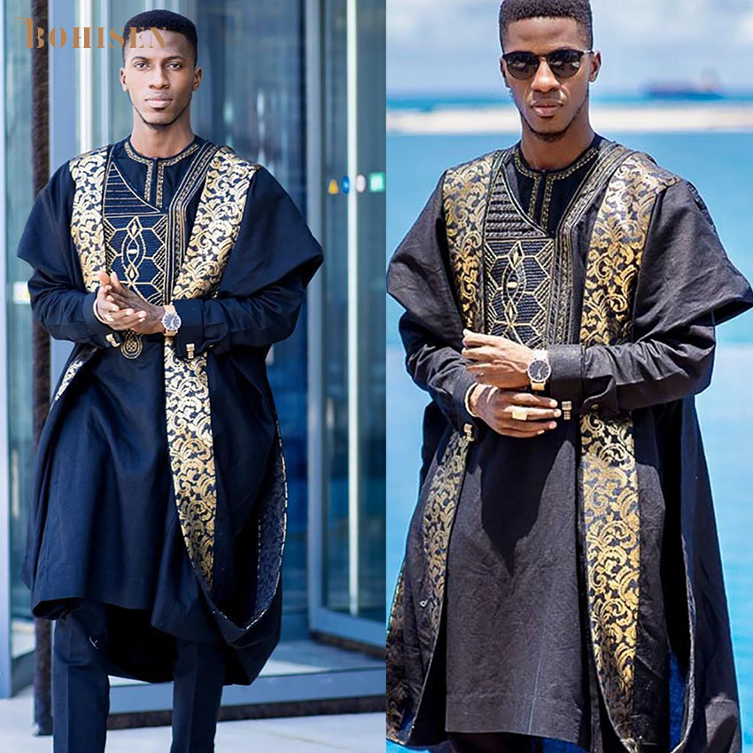 BOHISEN 2019 New African Print Men Clothes Bazin Agbada 3 Pieces Boubou Long Sleeve Party Dashiki African Formal Dress For Men