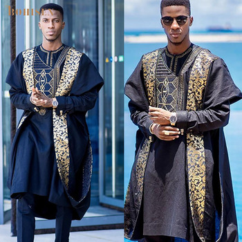 BOHISEN 2019 New African Print Men Clothes Bazin Agbada 3 Pieces Boubou Long Sleeve Party Dashiki Formal Dress For
