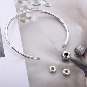 Image 5 - Женский браслет из стерлингового серебра S925 пробы Moonmory Moments, браслет из бисера с прозрачным цирконием, ювелирные изделия своими руками