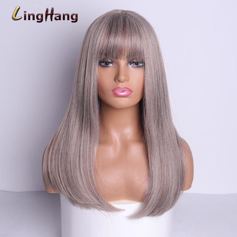 Купить linghang 18 дюймов длинный синтетический парик с челкой темные