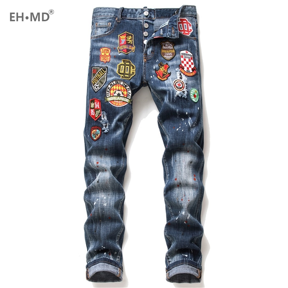EH · MD® Football Club Micro Chapter Jeans Men's Embroidery Scratched Ripped Trousers Painted Letters Slim Cotton Red Ears Soft