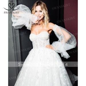 Image 4 - SWANSKIRT Sweetheart Illusion 웨딩 드레스 2020 2 In 1 Sleeve a 라인 프린세스 맞춤형 브라 가운 Vestido de novia I327