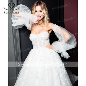 Image 4 - SWANSKIRT Sweetheart Illusion suknia ślubna 2020 2 w 1 rękaw line księżniczka dostosowane suknia ślubna Vestido de novia I327