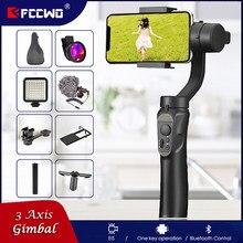 Fccwo h4 3 eixos de carregamento usb suporte gravação vídeo direção ajustável universal handheld cardan smartphone estabilizador vlog ao vivo