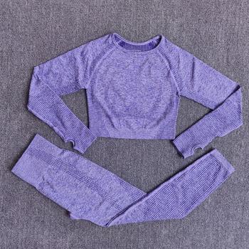 Kobiety bez szwu joga zestaw odzież sportowa Fitness legginsy z wysokim stanem koszule Crop Top dresy sportowe spodnie do ćwiczeń odzież sportowa tanie i dobre opinie Octan WOMEN Pełna Yoga Pasuje prawda na wymiar weź swój normalny rozmiar Stałe Oddychające Szybkie suche Pink Black Purple Gray Wine Blue