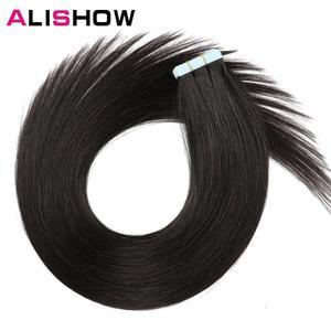 Image 2 - Alishow 18 cal taśmy w Remy doczepy z ludzkich włosów podwójne wyciągnąć włosy proste niewidoczne wątek skóry PU włosów