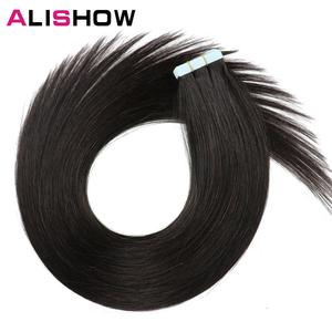 Image 2 - Alishow 18 inch Tape In Remy Human Hair Extensions Double Drawn Hair Straight Invisible Skin Weft PU Hair
