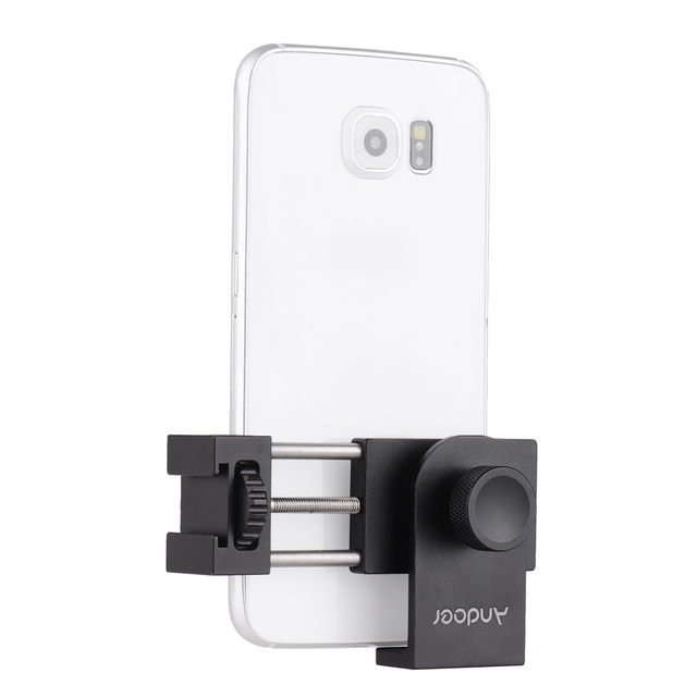 Andoer Metal Tripod Mount Adapter Phone Holder with Cold Shoe Mounting LED Video Light Support Vertical and Horizontal Modes