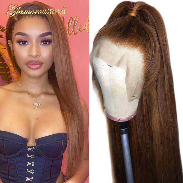 $ US $54.10 Colored Lace Front Human Hair Wigs #4 Light Brown 13*4 Brazilian Straight Human Hair Wigs For Women Pre Plucked Bleached Knots
