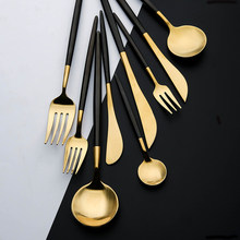 Dinnerware Cutlery Set Tableware Set Gold Cutlery Stainless Steel Spoon Fork Spoon Tableware Kitchen Spoon And Fork Set(China)