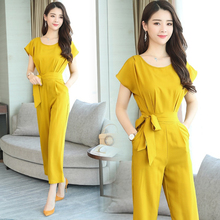 Spring and summer new style Trendy Korean version of the jumpsuit Fashion high waist two-piece jumpsuit