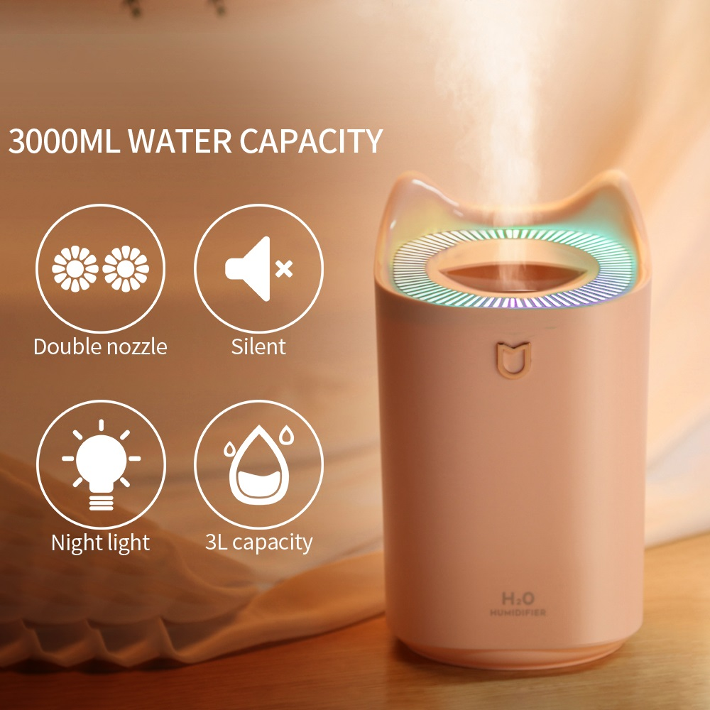 Home Air Humidifier 3L Double Nozzle Cool Mist Aroma Diffuser With Coloful LED Light Heavy Fog Ultrasonic Air Mist Humidificador